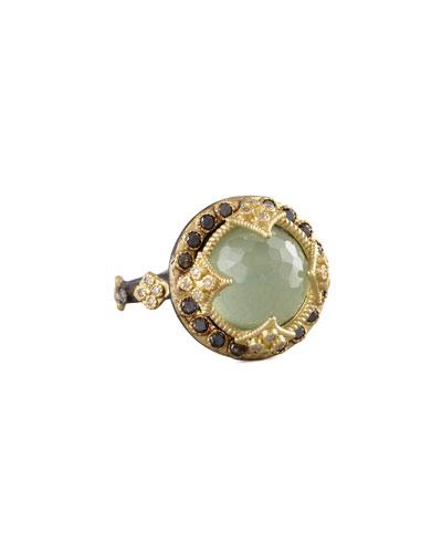 Green Turquoise & Black Diamond Crivelli Ring