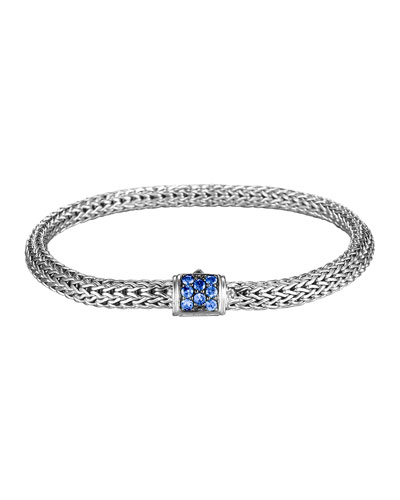 Classic Chain 5mm Extra-Small Braided Silver Bracelet, Blue Sapphire