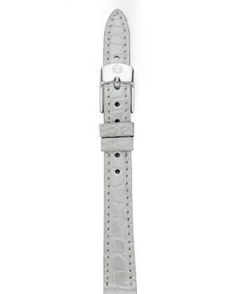 12mm Alligator Strap, Silver