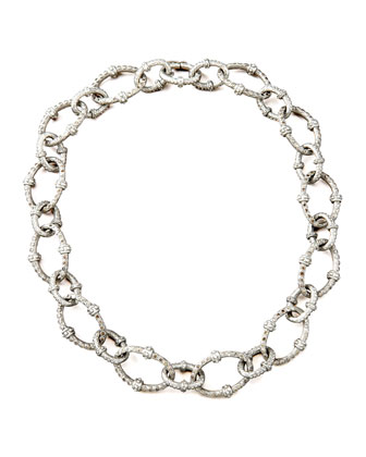Pave Diamond-Link Necklace, Large