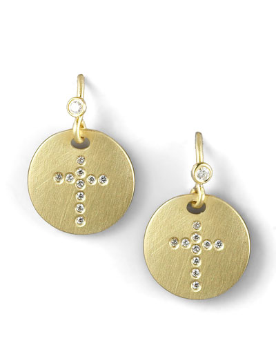 Pave Diamond Cross Medallion Earrings