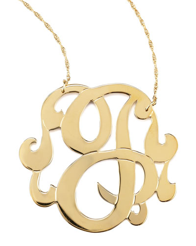 Swirly Initial Necklace, J