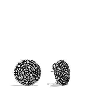 Cable Coil Earrings, Diamonds, 18mm
