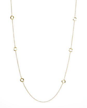 Gold Circle-Station Necklace, 40