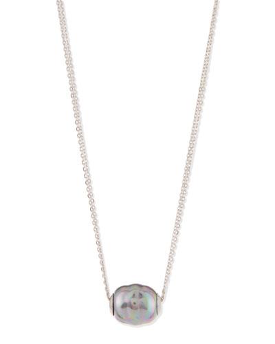 Baroque Pearl Pendant Necklace, Gray