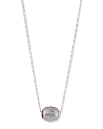 Baroque Pearl Pendant Necklace, Gray