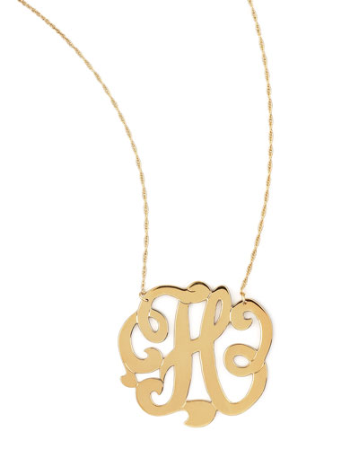 Swirly Initial Necklace, H
