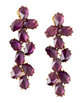 Clustered Crystal Drop Earrings, Purple