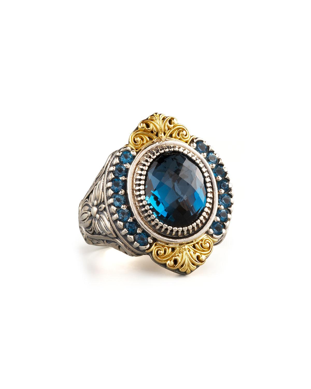 Pave London Blue Topaz Ring