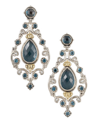 London Blue Topaz Chandelier Post Back Earrings