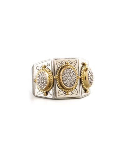 Three-Stone Pave Ring