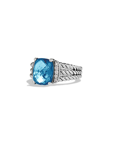 David Yurman Petite Wheaton Ring with Hampton Blue Topaz and Diamonds