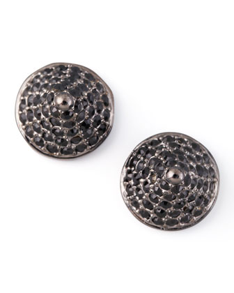 Pave Crystal Cone-Stud Earrings, Gunmetal