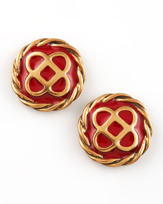 Mosaic Stud Earrings, Ruby