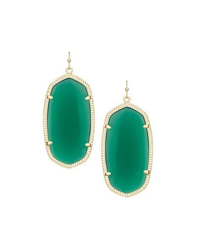 Danielle Earrings, Green Onyx