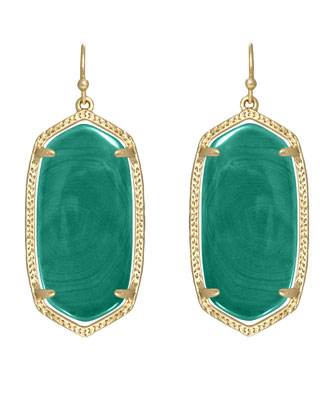 Elle Earrings, Green Agate
