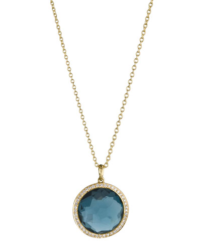 18k Gold Rock Candy Mini Lollipop Diamond Necklace in London Blue Topaz ...