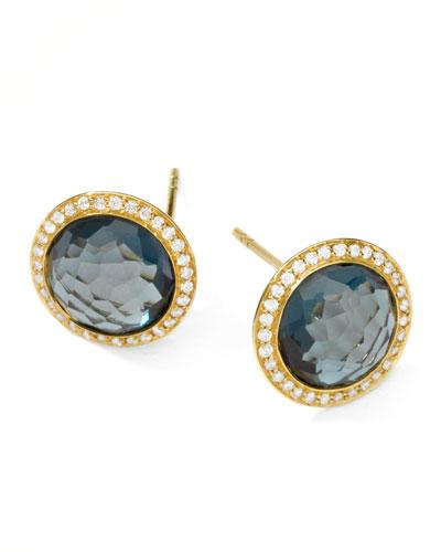 Rock Candy 18k Gold Lollipop  Diamond Stud Earrings, London Blue Topaz
