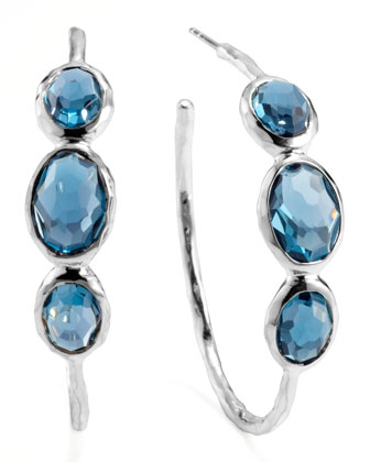 Rock Candy Silver 3-Stone Hoop Earrings, London Blue
