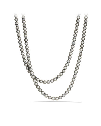 Pearl Crossover Necklace, Gray Pearl, 36
