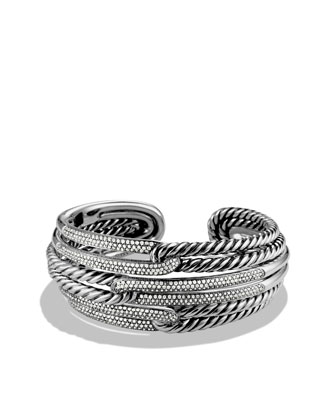 Labyrinth Cuff Bracelet, Pave Diamonds
