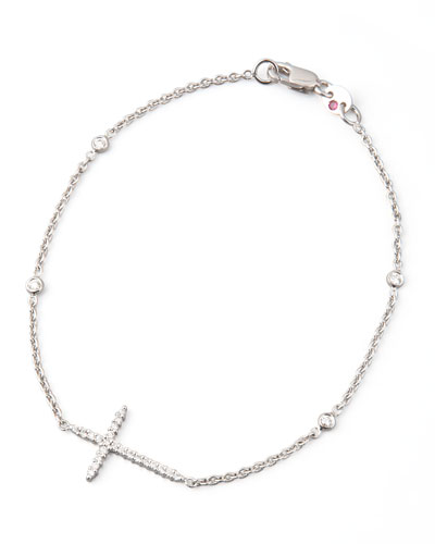 Integrated Diamond Cross Bracelet, White Gold