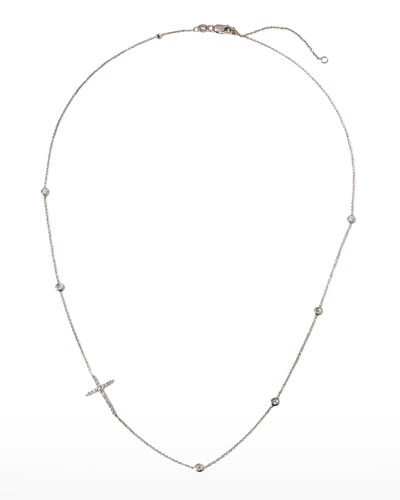 Integrated Diamond Cross Necklace, White Gold