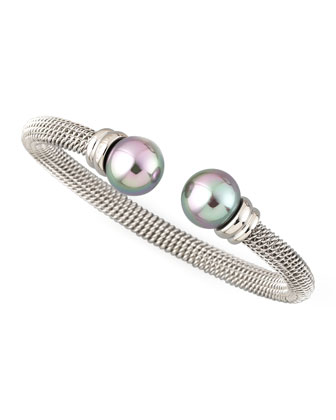 Gray Pearl-Cap Bangle, Silver