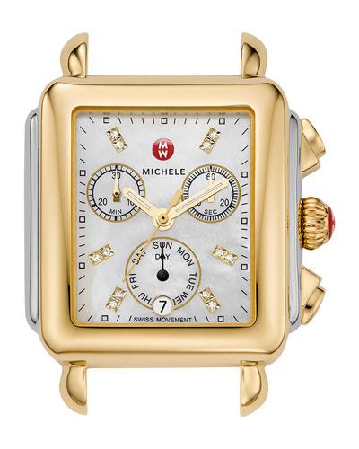 18mm Deco Diamond Dial Watch Head, Two-Tone