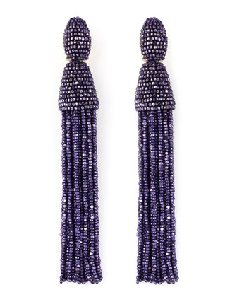 Long Beaded Tassel Earrings, Violet