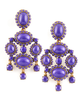 Cabochon Drop Clip Earrings, Purple