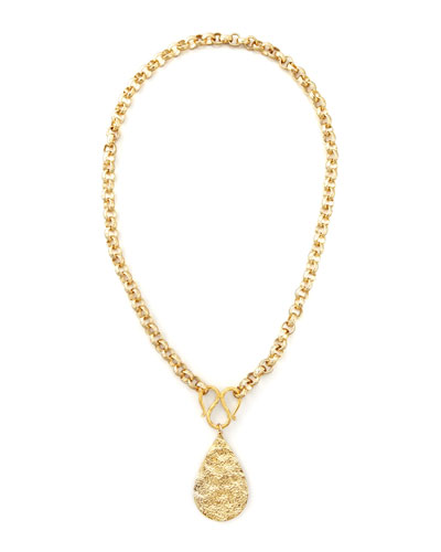 GOLD TEARDROP PEND NECKLACE