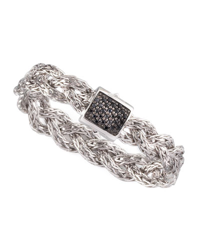 Black Sapphire Braided Chain Bracelet, Small