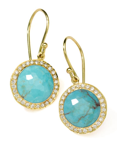 18k Mini Lollipop Earrings in Turquoise with Diamonds