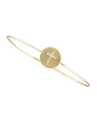 Diamond Cross Bangle, Gold