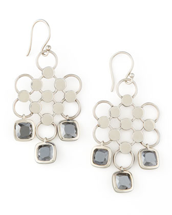 Square-Drop Dot Earrings, Hematite