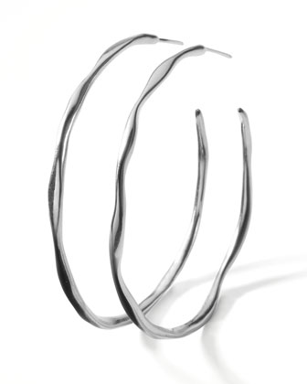 Silver Squiggle Hoop Earrings, Large