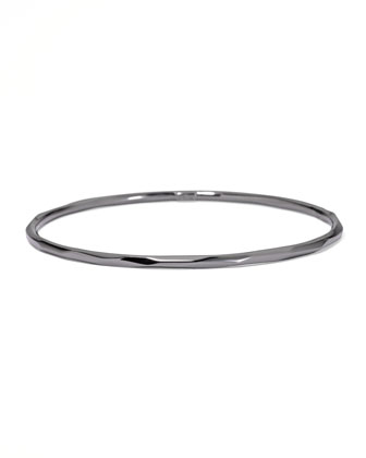 Faceted Black Silver Bangle