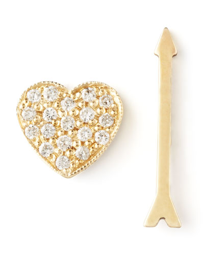 Diamond Heart & Arrow Earrings