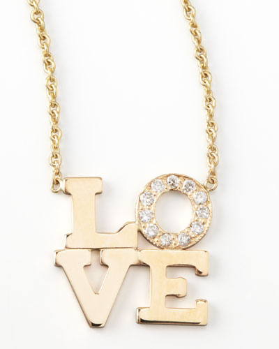 14k Pave Diamond Love Pendant Necklace