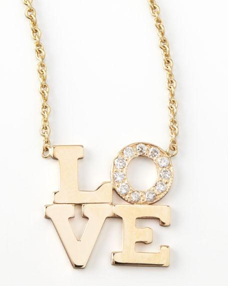 Zoe Chicco 14k Pave Diamond Love Pendant Necklace