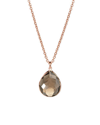 Rose Gold Smoky Teardrop Pendant Necklace