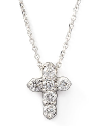 Diamond-Cross Pendant Necklace, White Gold