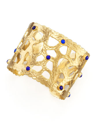 Hammered Gold Cuff, Lapis