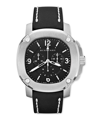 Oversized Chronograph Watch, Black