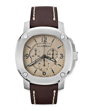 Oversized Chronograph Watch, Brown