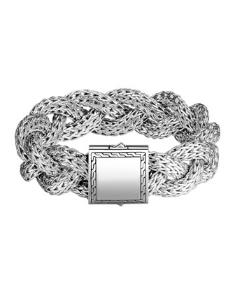 Large Braided Silver Chain Bracelet, Plain
