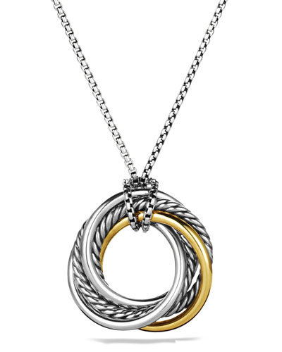 Crossover Small Pendant with Gold on Chain