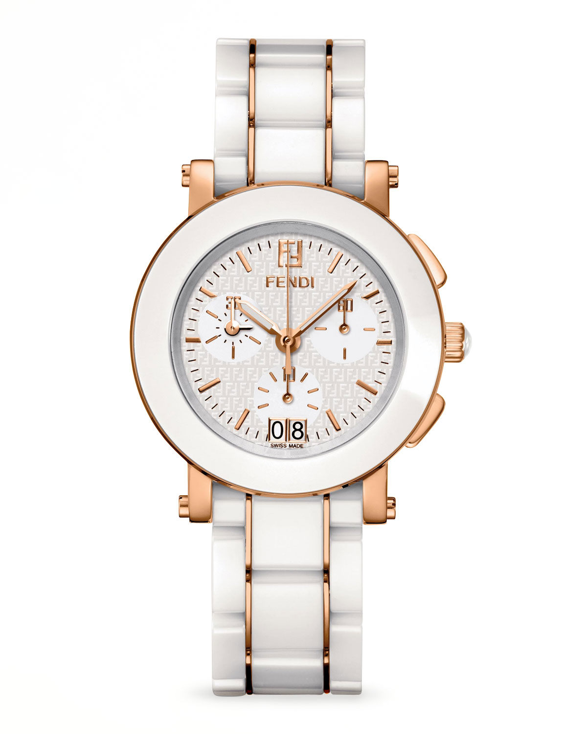 Rose Gold-Plated Ceramic Chronograph Watch, White