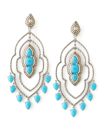 Batu Dot Morocco Chandelier Earrings, Turquoise